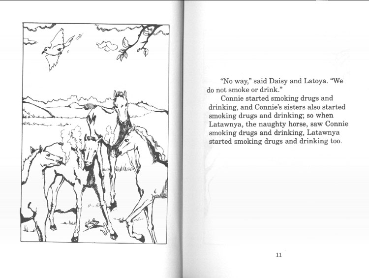 horses smoking and drinking