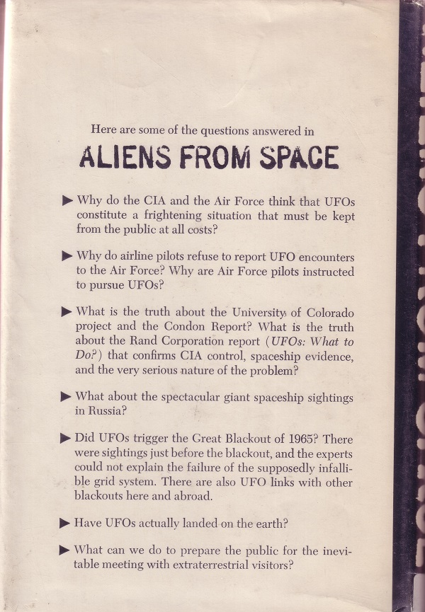 Aliens from space back cover