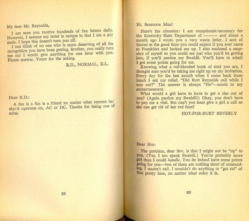 Burt Reynolds letter