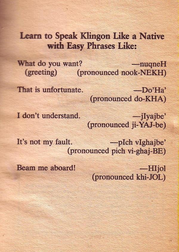 Klingon easy phrases