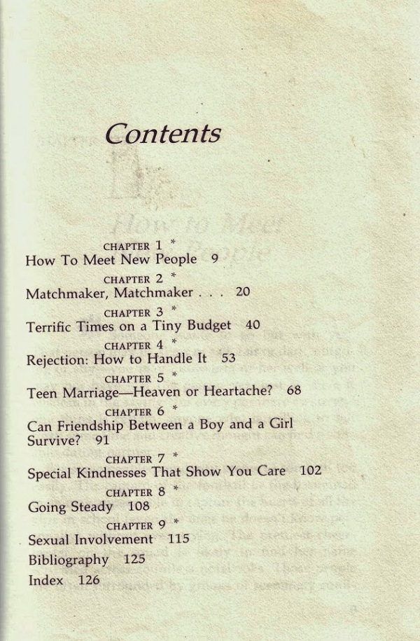 Teen Guide to Dating contents