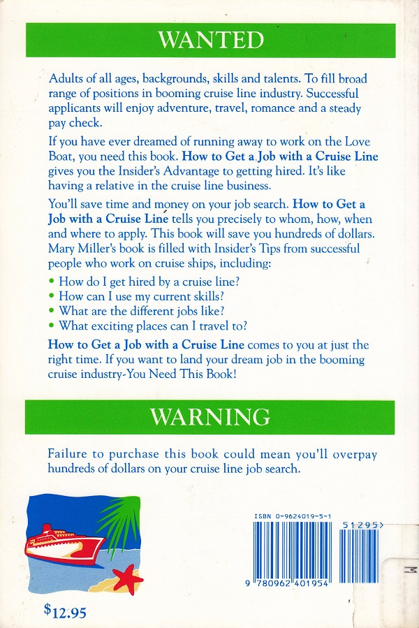 How to get a job on a cruise line back cover