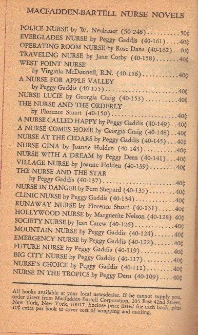 List of Nurse Novels