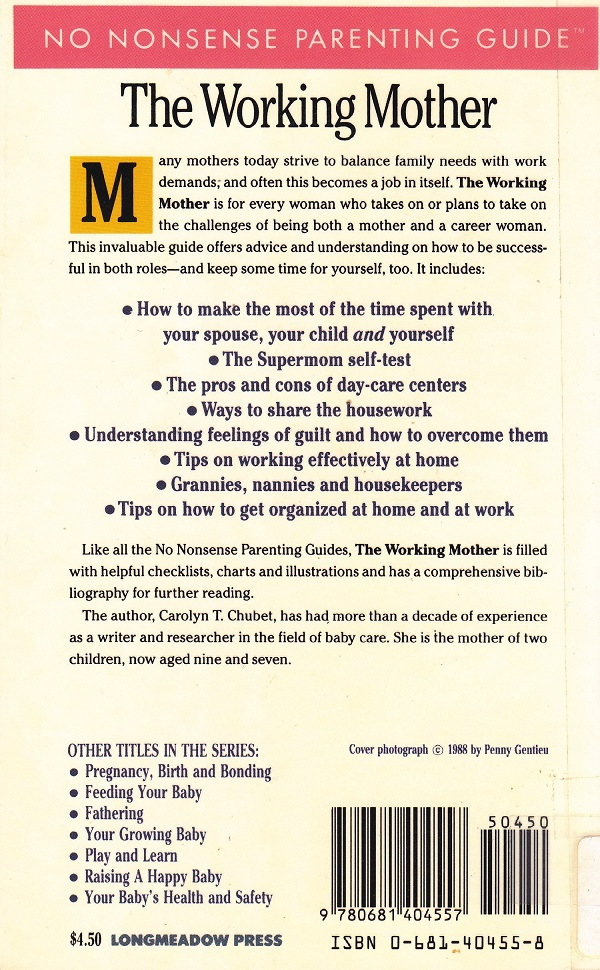 The Working Mother back cover