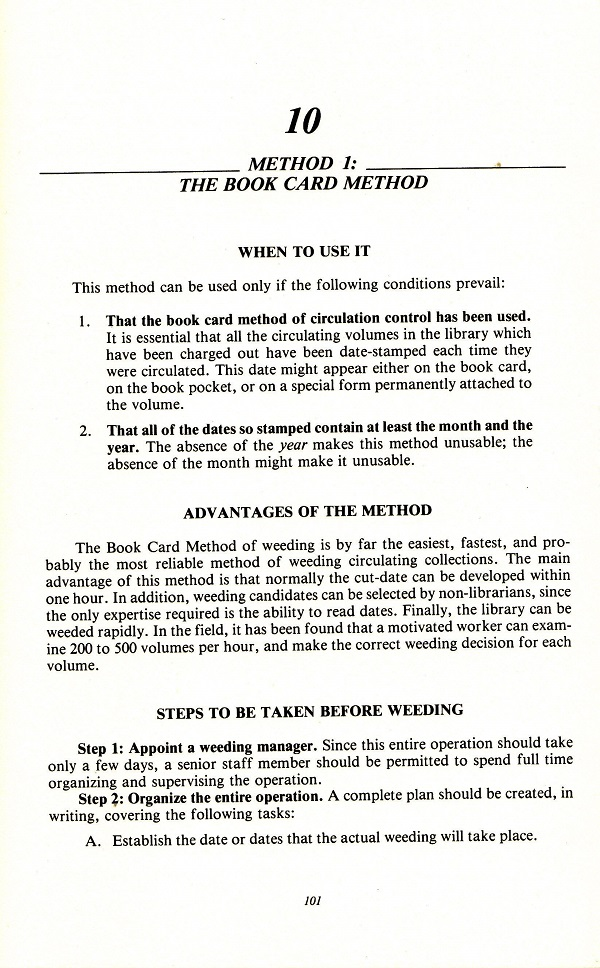 The book card method