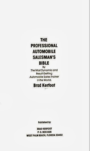 The Professional Automobile Salesman's Bible - cover