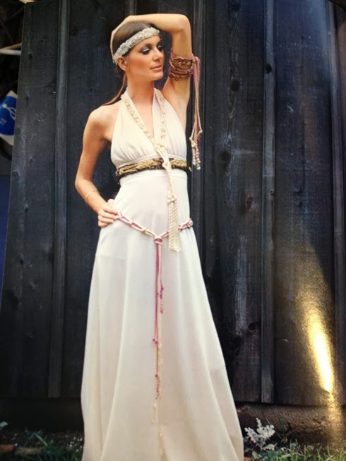 gown with macrame belt