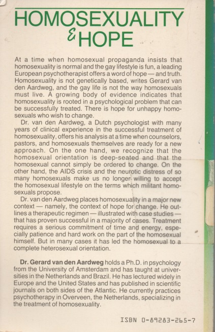 Homosexuality and Hope back cover