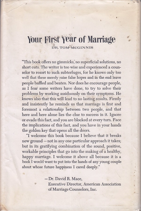 Your First Year of Marriage - back cover