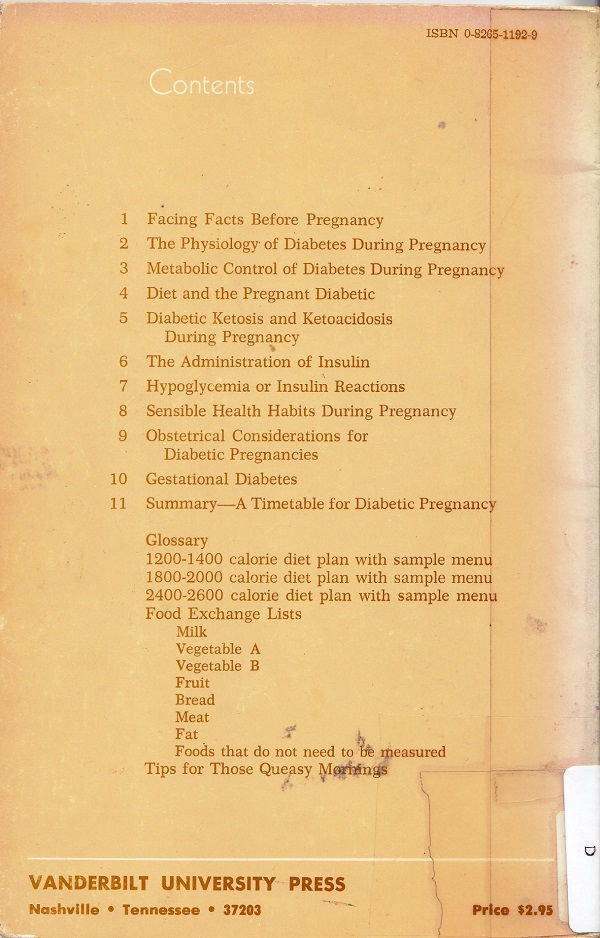 Diabetes and Pregnancy back cover