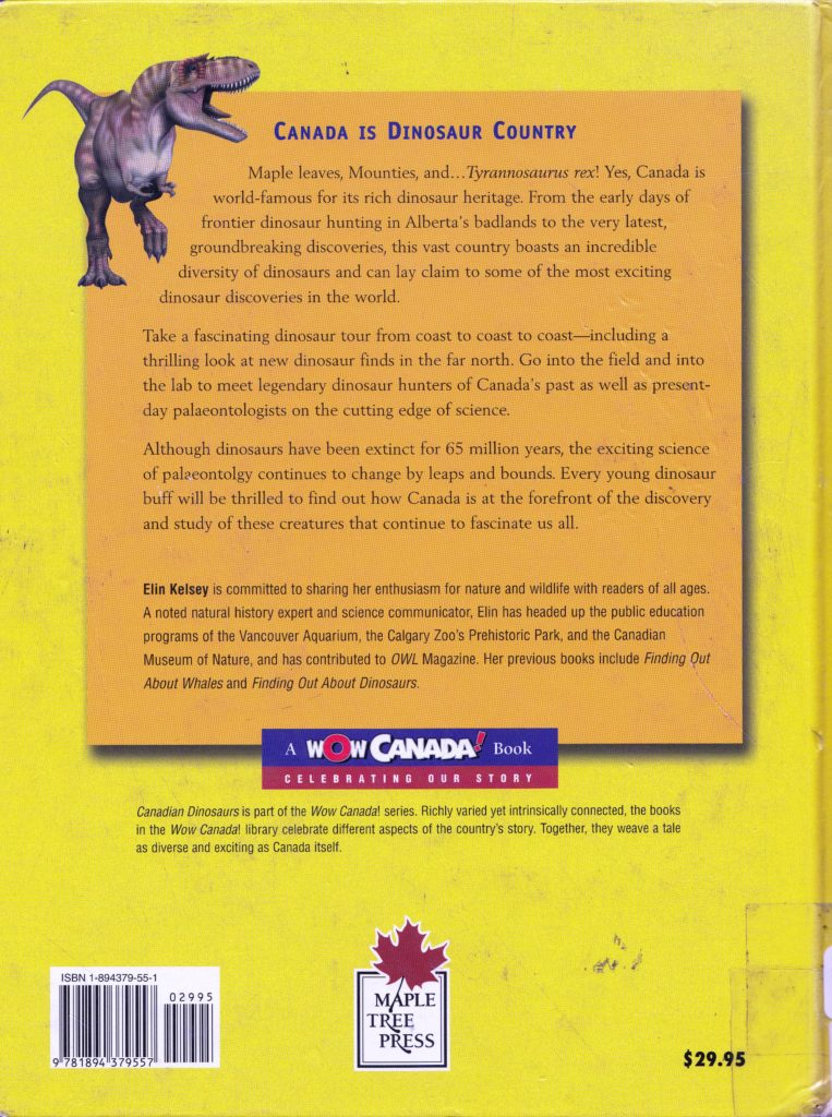 Canadian Dinosaurs back cover