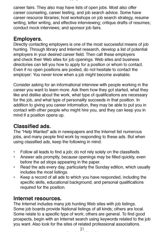 Employers and Classified ads