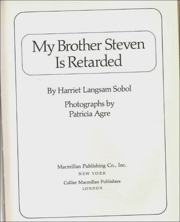 My brother stephen is retarded title page