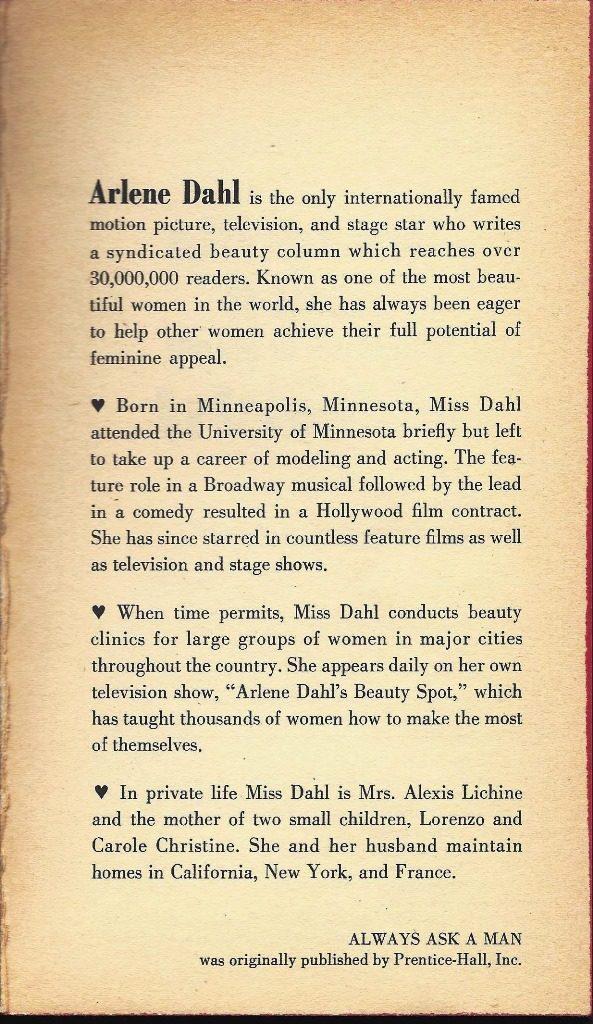 author bio about Arlene Dahl
