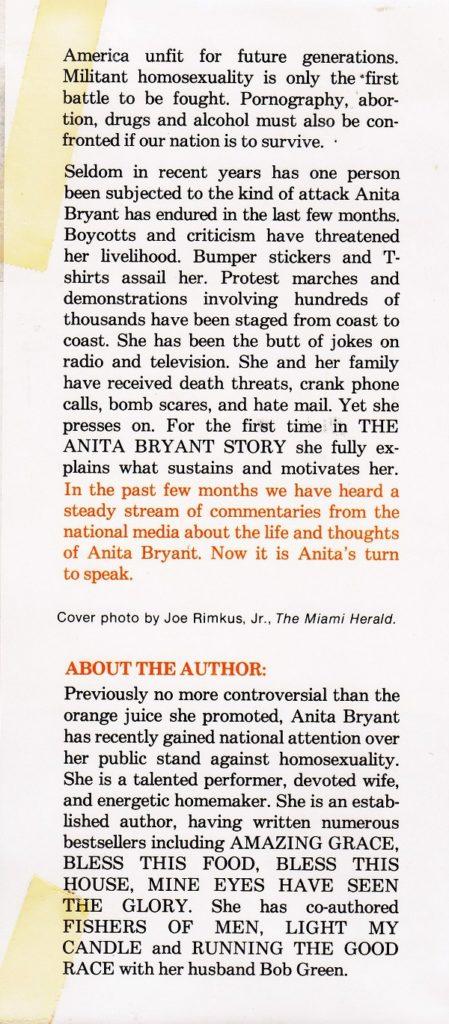 Anita Bryant back flap