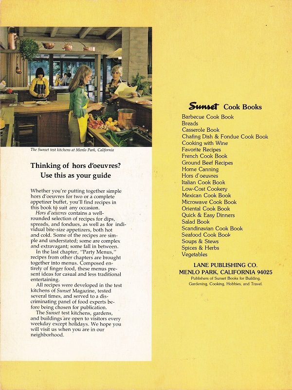 Hors d'oeuvres back cover