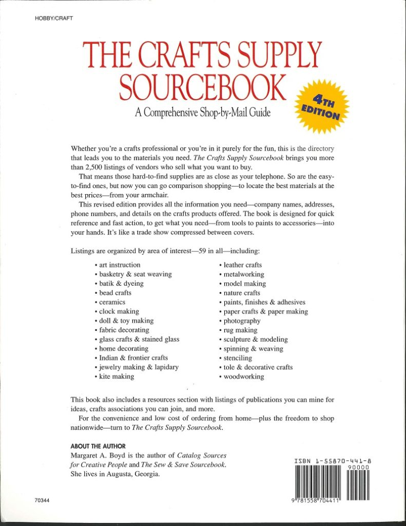 Crafts Supply Source Book - back cover