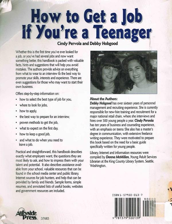 Get a job teens back cover
