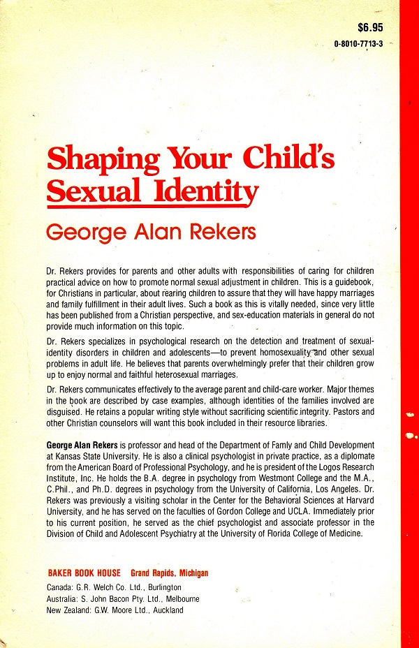 Shaping Your Child's Sexual Identity back cover