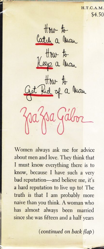 Zsa Zsa Gabor - front cover flap