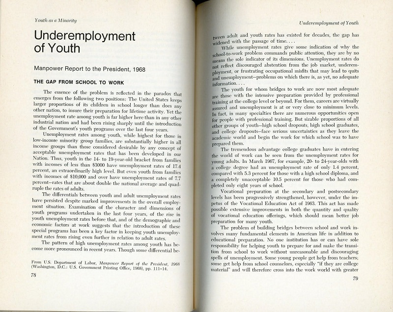 Underemployment of youth
