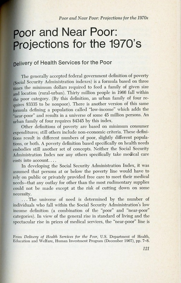Poor and Near Poor - projections for the 1970s