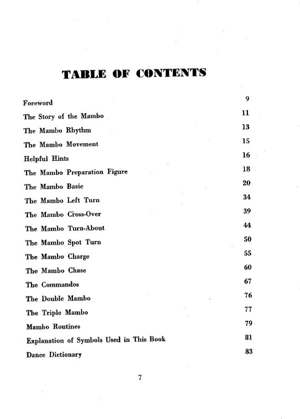 Mambo Made Easy Table of Contents
