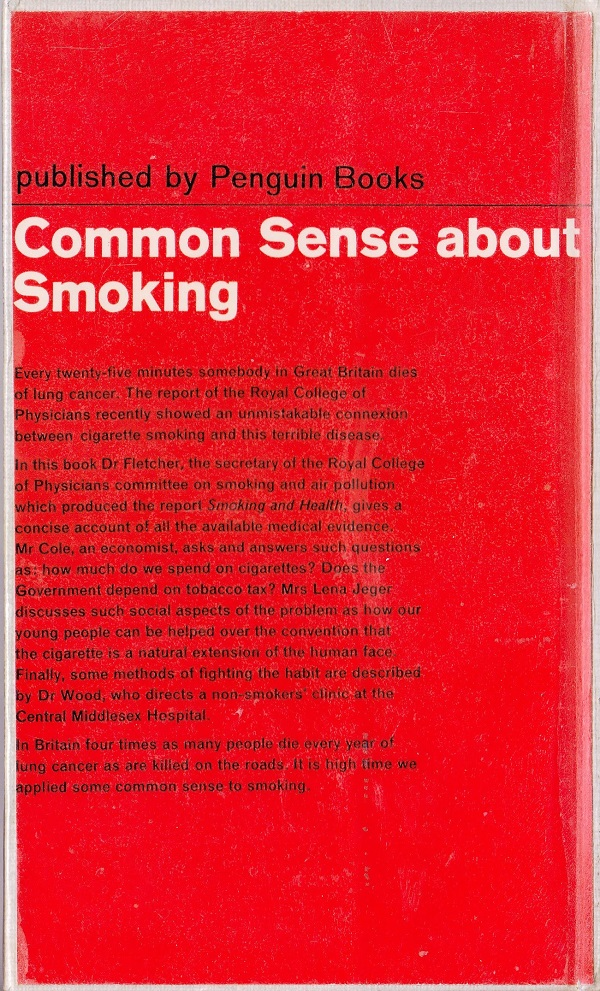 Common Sense About Smoking back cover