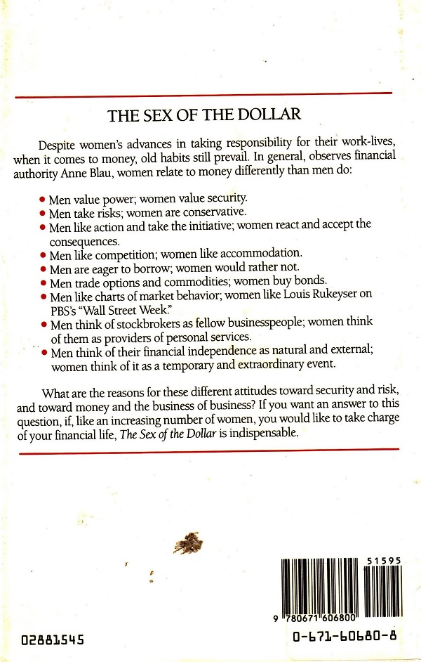 Sex of the Dollar back cover