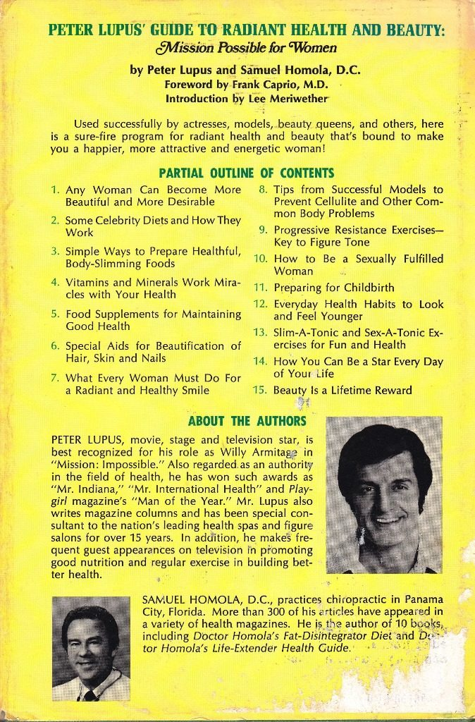 Peter Lupus guide to health back cover