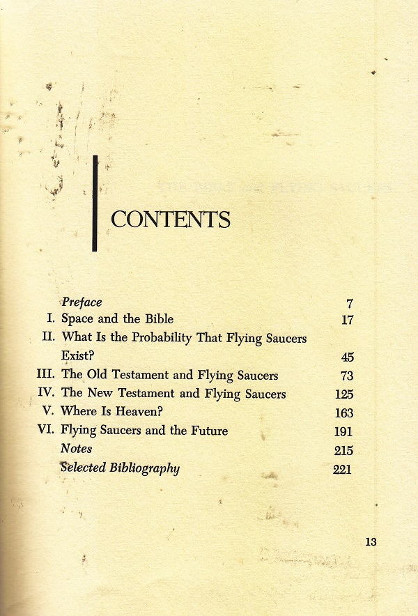 The Bible and Flying Saucers contents