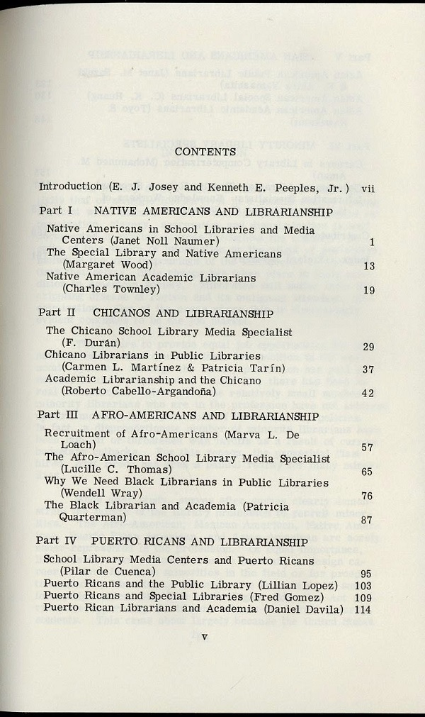 Opportunities for Minorities in Librarianship - table of contents