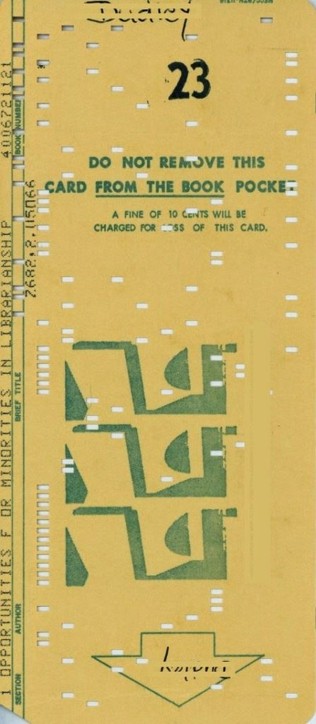 Opportunities for Minorities in Librarianship - punch card