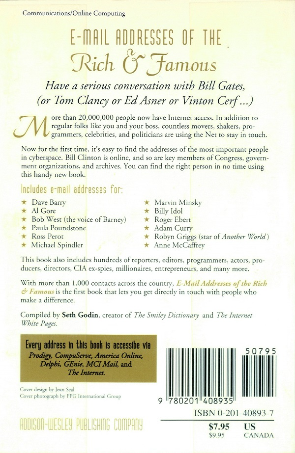 Email Addresses of the Rich and Famous - back cover