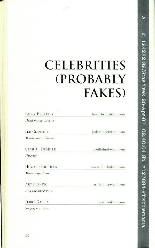 Celebrity Email addresses - probably fakes