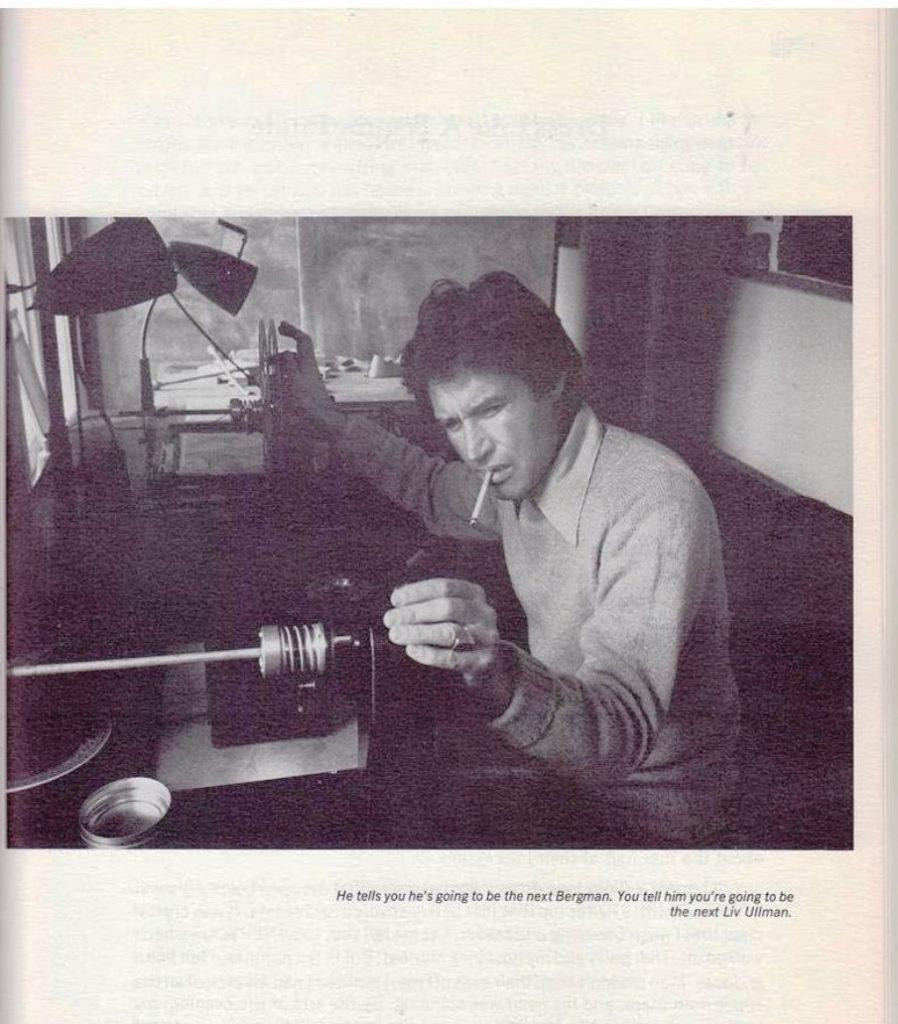 man editing a film