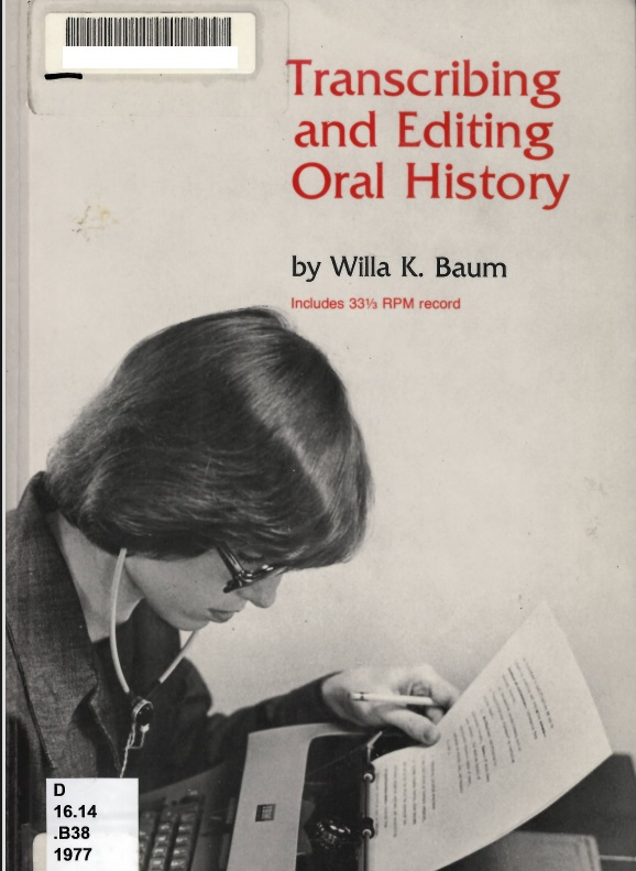 Oral history cover