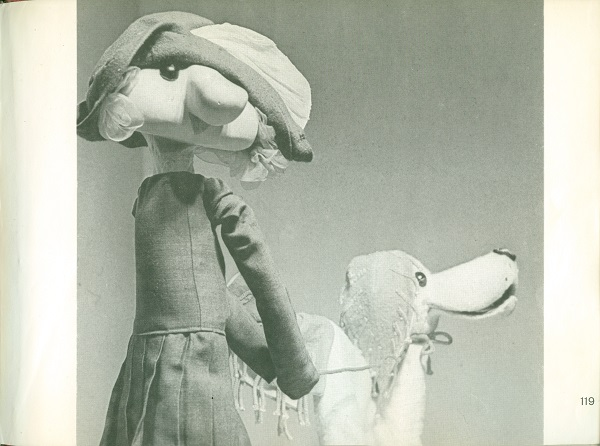 Girl and dog puppet