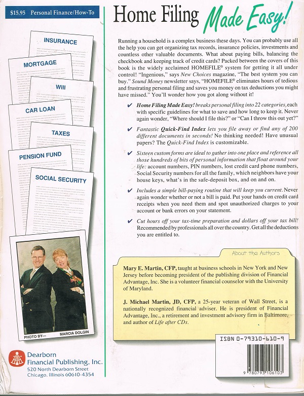 Home Filing Made Easy back cover