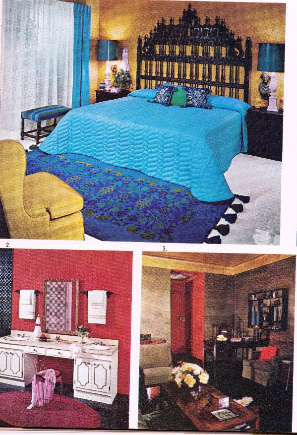 blue bedroom with gold chair