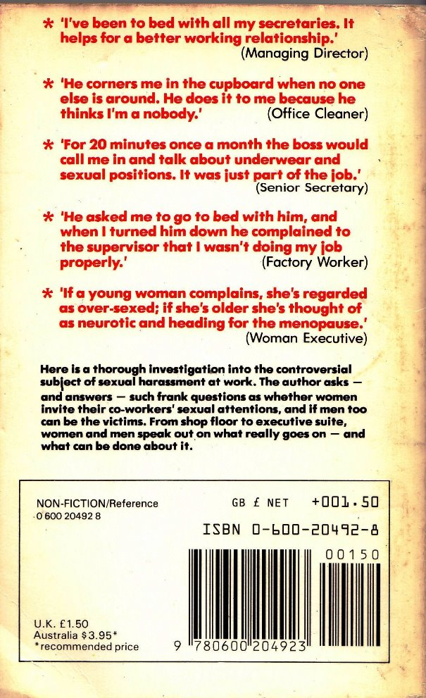 sexual harassment at work back cover