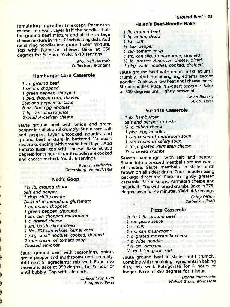 recipes for casseroles with ground beef