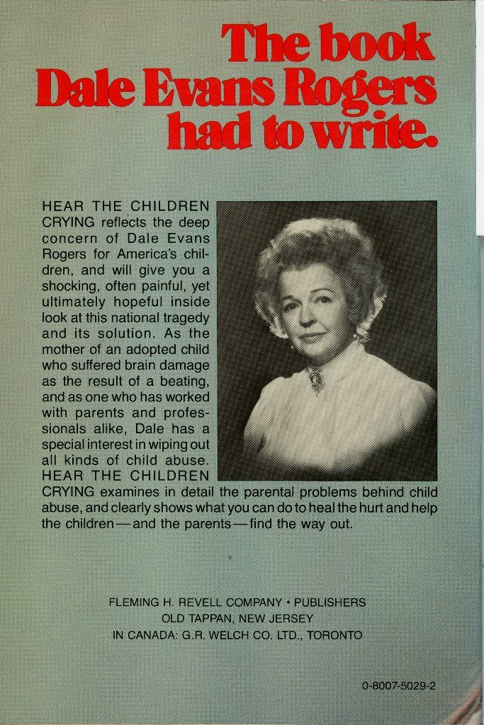 back cover Dale Evans Hear the Children Crying