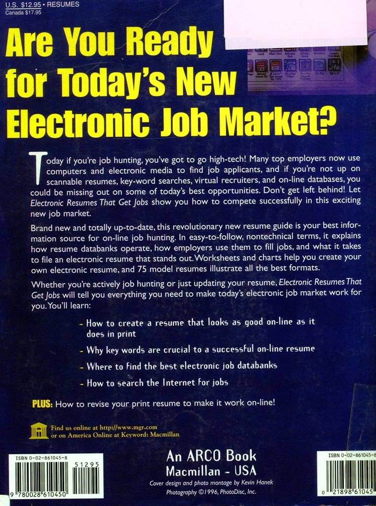 back cover of 1996 electronic resume book