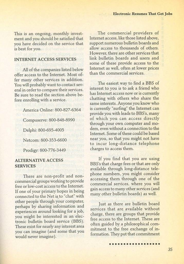 internet providers and technology abt 1996