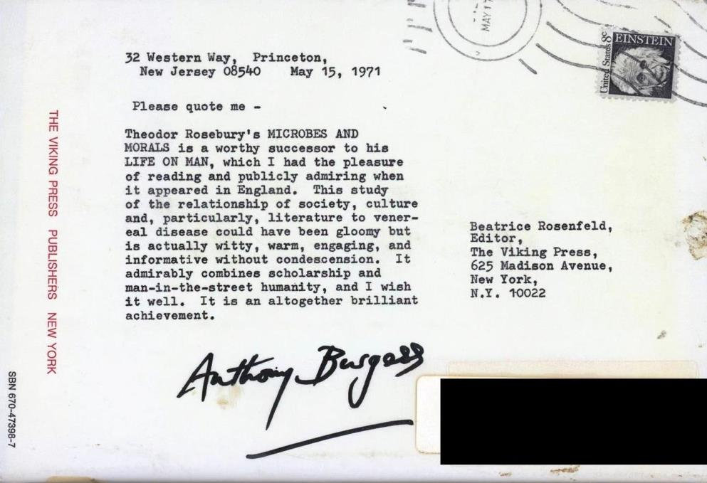 back cover written by Anthony Burgess