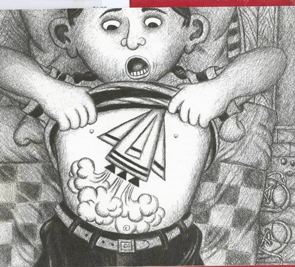 illustration of boy's stomach with a tv