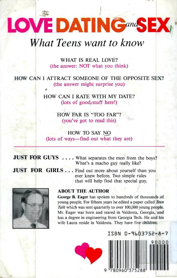 back cover of love dating and sex