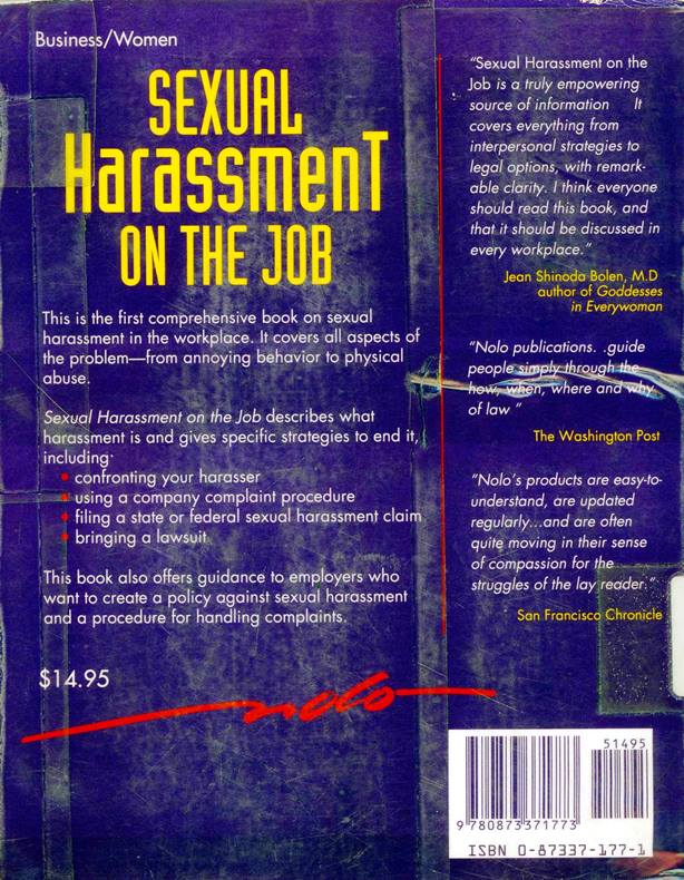 sexual harassment on the job back cover