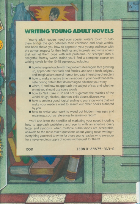Back cover of writing young adult novels